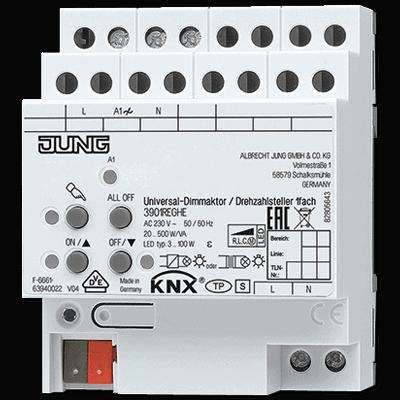 KNX LED-Universal-Dimmaktor / Drehzahlsteller, 1fach JUNG: 3901REGHE